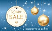 Special Offer Winter Sale Concept Banner. Realistic Illustration Of Special Offer Winter Sale Vector poster