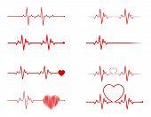Heart Rhythm Set, Electrocardiogram, Ecg - Ekg Signal, Heart Beat Pulse Line Concept Design Isolated poster