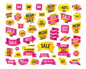 Sale Banner. Super Mega Discounts. Sale Discount Icons. Special Offer Price Signs. 10, 20, 30 And 40 poster