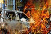 Fire Flames Burns Home And Car Fire And Smoke A Burning House poster