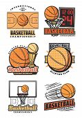 Basketball Vector Icons. Championship Cup Or Sport Team League Tournament Design. Vector Orange Bask poster