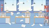 Vector Cartoon Stressful Office Environment. Stressed Vector Cartoon Characters. Empty Office Tables poster