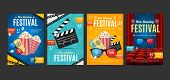 Cinema Placard Set With Realistic 3d Detailed Element. Vector poster