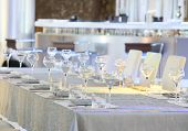 Tableware and glasses on a table