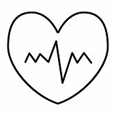 Heartbeat Thin Line Icon. Pulse Vector Illustration Isolated On White. Cardiogram Outline Style Desi poster