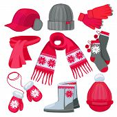 Winter Clothes. Hat Cap Scarf Mittens Fur Christmas Fashion Clothes Isolated On White Vector Collect poster