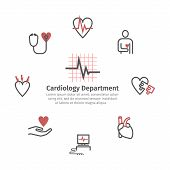 Cardiology Center Round Banner. Line Icons, Clinic Icons. Heart Signs. Vector Illustration poster