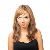 Portrait of  pretty young woman with red lipstick looking at camera, against white background
