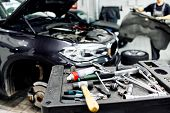 Tools For Car Service, Car Service Room. Mechanic Tools For Maintenance Car In Garage poster