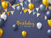 Happy Birthday Holiday Design For Greeting Cards. Bunting Flags, Balloons And Confetti. Template For poster