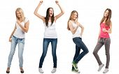 Collage of four happy excited young women with arms extended  in different perspectives. Over white