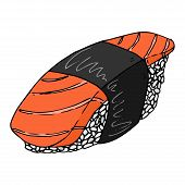 Sushi Icon. Vector Japanese Food Sushi. Hand Drawn Sushi. poster