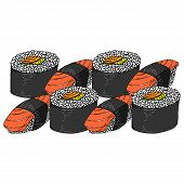 Set Roll Sushi Icon. Vector Illustration Japanese Food Sushi Roll. Hand Drawn Set Sushi. poster