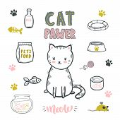 Cat Pawer. Cute Little Cat. Set Of Accessories For Cats. Vector Isolated Illustration. poster