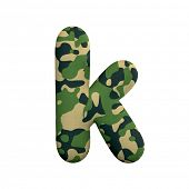 Army letter K - Lower-case 3d Camo font isolated on white background. This alphabet is perfect for c poster