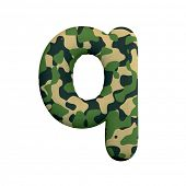 Army letter Q - Small 3d Camo font isolated on white background. This alphabet is perfect for creati poster