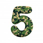 Army number 5 - 3d Camo digit isolated on white background. This alphabet is perfect for creative il poster