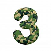 Army number 3 - 3d Camo digit isolated on white background. This alphabet is perfect for creative il poster