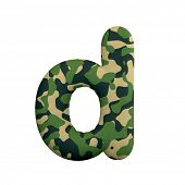Army letter D - Small 3d Camo font isolated on white background. This alphabet is perfect for creati poster