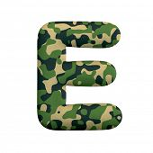 Army letter E - large 3d Camo font isolated on white background. This alphabet is perfect for creati poster