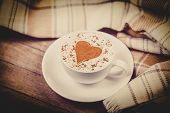 Cup With Coffee And Shape Of The Cacao Heart On It And Scarf. Photo With Vintage Vignetting. poster
