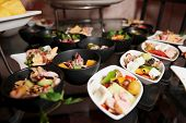 Snacks on banquet table - picture taken during catering event