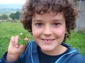 Smiling Boy Holding Green Four Leaf Clover