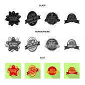 Isolated Object Of Emblem And Badge Icon. Collection Of Emblem And Sticker Vector Icon For Stock. poster