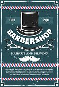 Barbershop Salon Premium Retro Poster Design. Vector Barber Shop Beard And Hair Salon Vintage Banner poster