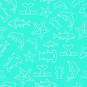 Seamless Pattern Sea Life, Starfish, Hammerhead Shark, Shark, Dolphins, Whale, Outline Vector poster