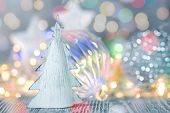 Christmas Decoration On Defocused Shiny Lights Background. New Year Holidays Background poster