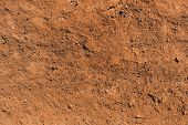 Dry Soil Texture And Background. Red Soil Background. Abstract Ground. Natural Abstraction. Clay. Oc poster