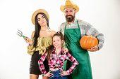 Harvest Festival Concept. Family Farmers Gardeners Pumpkin Harvest Isolated White Background. Family poster