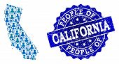 People Collage Of Blue Population Map Of California And Scratched Stamp. Vector Seal With Scratched  poster