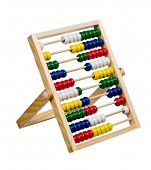 childs wooden abacus isolated on white