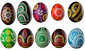 Hand painted easter eggs isolated on white
