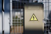 Gray Hinged Power Supply, Electric Flap. Danger Sign With Dangerous Voltage poster