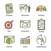 Kpi - Key Performance Indicators Icon Set With Evaluation, Growth, & Strategy, Etc poster