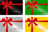 Set of  gift card  with red ribbon. vector