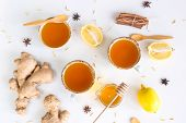 Tea With Turmeric Among Products For Improving Immunity And Treating Colds - Ginger, Lemon, Honey, A poster