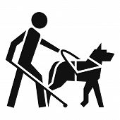Blind Boy Dog Guide Icon. Simple Illustration Of Blind Boy Dog Guide Icon For Web Design Isolated On poster