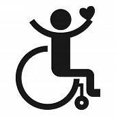 Adult Wheelchair Icon. Simple Illustration Of Adult Wheelchair Icon For Web Design Isolated On White poster