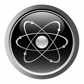 image of nuke  - Atomic symbol as a web button - JPG
