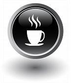 Black tea icon - web button, vector