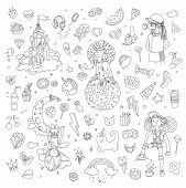 Set Of Teenage Girl Line Icons, Cute Cartoon Teen Objects, Fun Line Design Vector In Teenager Girls  poster