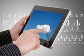 cloud computing concept - using cloud services on tablet