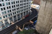 Chicago Elevated Train Tracks Disappearing  Around A Bend Corner In The Chicago Downtown Loop Busine poster