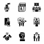 Political Meeting Icon Set. Simple Set Of 9 Political Meeting Vector Icons For Web Design Isolated O poster