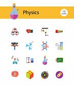Physics Icon Set. Galaxy Radiation Sign Substance In Test Tubes Flask Genetic Engineering Logic Conc poster