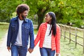 Black adult couple,boyfriend,girlfriend walk holding hands in the countryside,close up poster